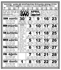 Click here to download Telugu Calendar for the month of April 2006