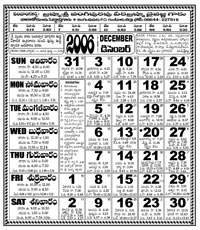 Click here to download Telugu Calendar for the month of December 2006