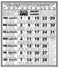 Click here to download Telugu Calendar for the month of January 2006