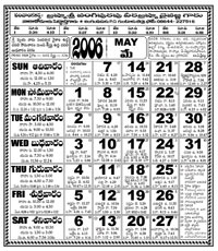 Click here to download Telugu Calendar for the month of May 2006
